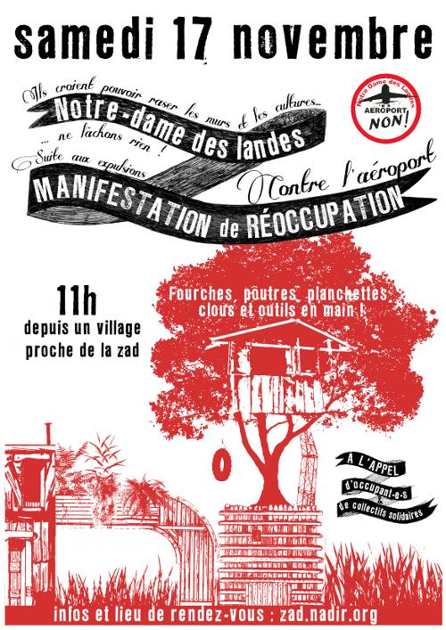 Manifestation de réoccupation NDDL le 17 novembre